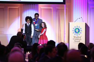 NEW YORK, NY - OCTOBER 27:  Honoree Iyyappan Subramaniyan accepts an award on stage during the World of Children Awards Ceremony on October 27, 2016 in New York City.  (Photo by Robin Marchant/Getty Images for World Of Children)
